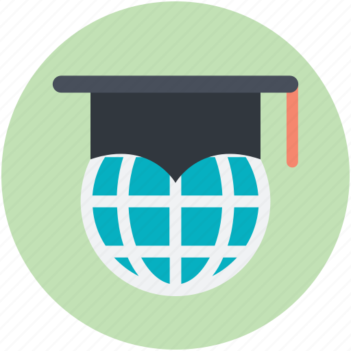 global education, globe, mortarboard, online education, online learning icon