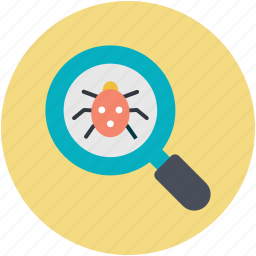 antivirus, bug searching, debugging, magnifier, magnifying glass icon