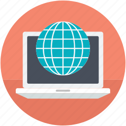 earth grid, globe, internet connection, internet grid, laptop icon
