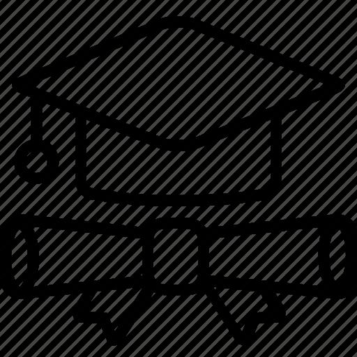 certificate, degree, education, gradute icon