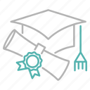 diploma, education, graduation, learn, school, study icon