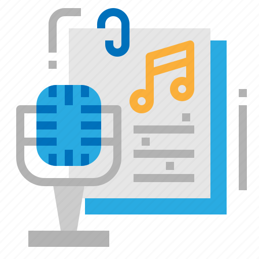 microphone, music, note, sound icon