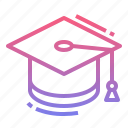 education, graduate, graduation, hat icon