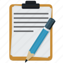list, notes, pencil, writing icon