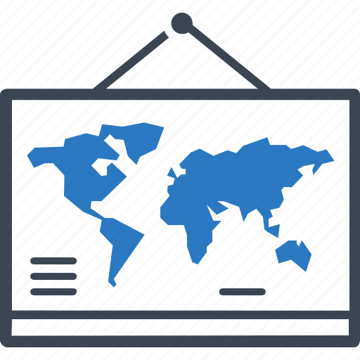 education, geography, school, world map icon