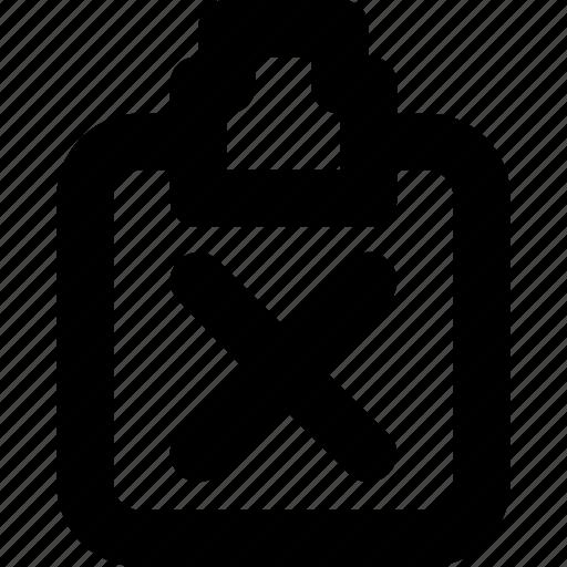 clipboard, cross, delete, document, remove icon