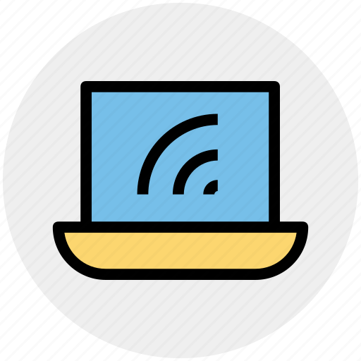 computer, laptop, mac book, technology, wifi, wifi signals icon