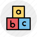 abc, alphabet, blocks, bricks, puzzle, toy icon