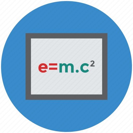 einstein formula, note book, notes, paper, physics notepad icon
