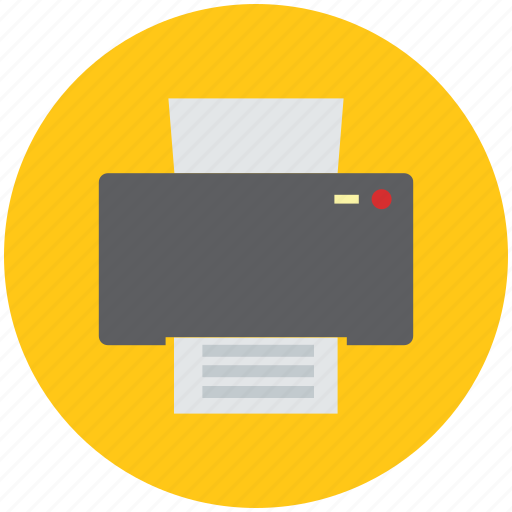 copier, fax, inkjet, office material, output device, printer, printer with paper, scanner icon