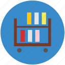 book rack, book shelf, books, books file, documents icon