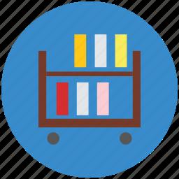 book rack, book shelf, books, books file, documents icon