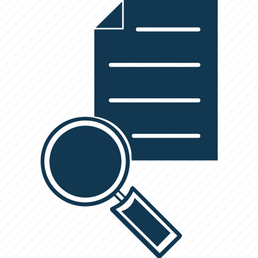 file scanning, magnifier, search, search document, search file, search page icon