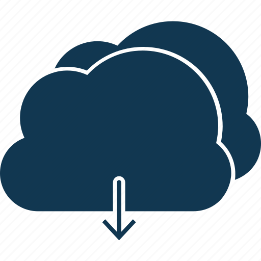 cloud download, cloud network, cloud sharing, computing, down, download icon