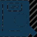 e book, find book, library, magnifier, search, search book icon