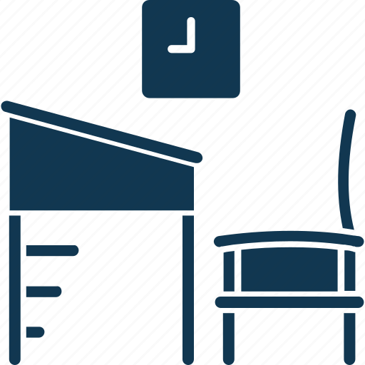 chair, classroom, classroom chair, classroom furniture, desk and chair, student chair icon