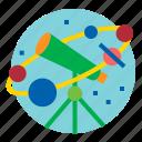 astronomy, binoculars, planet, space icon