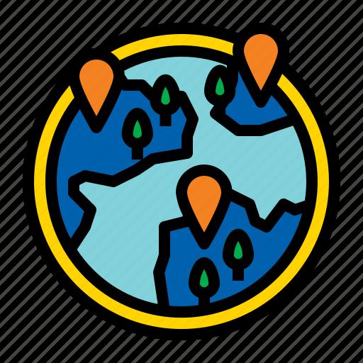 earth, geography, globe, location icon