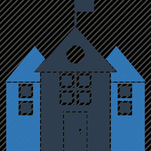 building, education, real estate, school, school building, university icon