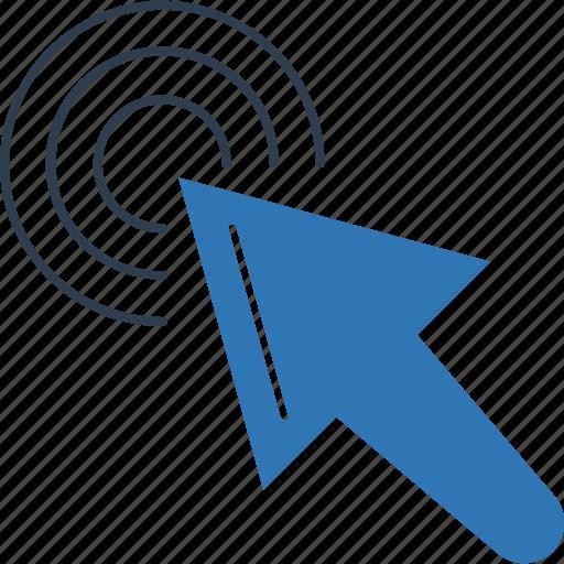 arrow, circle, cursor, direction, mouse arrow, mouse click, pointing arrow icon