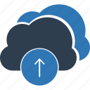 cloud computing, cloud transfer, cloud upload, data transmission, upload, uploading icon