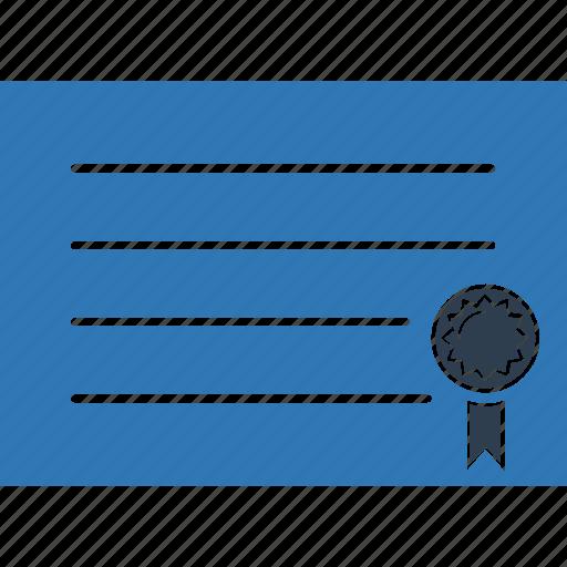 achievement, award, certificate, certification, degree, diploma icon