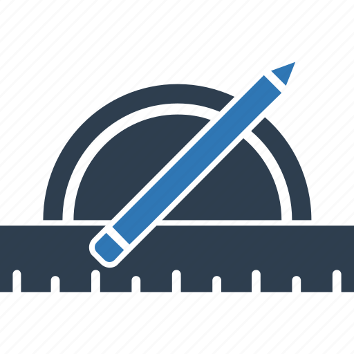 degree square, drawing equipment, pen, pencil, protractor, ruler, stationery icon