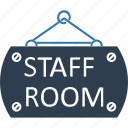 classroom, hanging sign, school room, school sign, staff room, staff room hanging sign icon