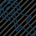 arrow, circle, cursor, mouse arrow, mouse click, pointing arrow icon