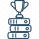 award, prize, reward with books, study award, trophy, winning cup icon