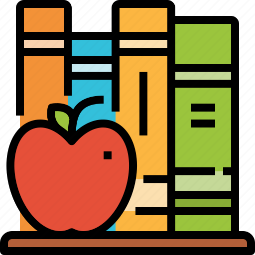 apple, books, education, library, study icon