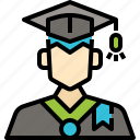 avatar, graduation, man, profile, student, user