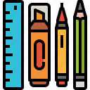 hilighter, pen, pencil, ruler, stationary, tools icon