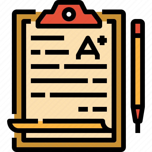 education, exam, file, result, test icon