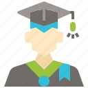 avatar, graduation, man, profile, student, user icon