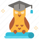 animal, education, graduate, hat, owl icon