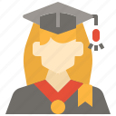 avatar, graduation, profile, student, user, woman icon