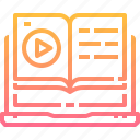 audio, book, earphone, education, learning, online, study, video icon