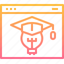 education, graduation, idea, learning, online, page, web icon