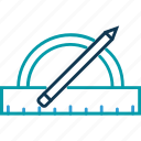degree square, drawing equipment, pencil, protractor, ruler, stationery icon