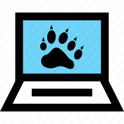 laptop, learn, learning, paw icon