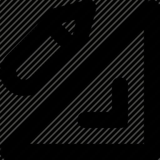 degree square, drafting, geometry, pencil, set square icon