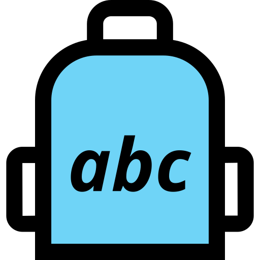 abc, backpack, education, elementary, school icon