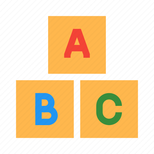 abc, alphabet, blocks, cubes, education, keyboard, letter icon