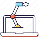engineering technology, mechanical machine, online engineering, robotic arm, robotic machine icon