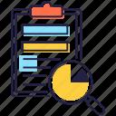 data analysis, data record, data report, data statement, present data icon