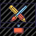 art tools, creative tools, designing tools, graphic designing, graphic tools icon