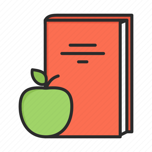 apple, book, break, fruit, lunch, lunch break icon