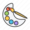 brush, paint, painting, palette icon