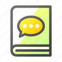 book, chat, education, learn, school, study icon